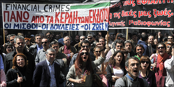 Greek journalists demonstrating during strike, 8 Apr 11