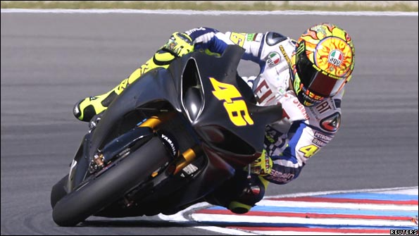 Valentino Rossi practices on the Brno Masaryk circuit