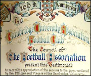 Cambridge Uni FC's 100th anniversary certificate