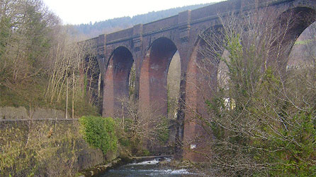 The old mineral line viaduct spanning the Afan river.
