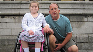 Wheelchair user Daisy and her father