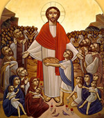 Coptic religious painting of Jesus standing among thousands of seated people, miraculously creating food