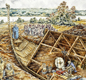 A modern artist's picture of the Sutton Hoo ship burial. It is based on archaeological evidence.