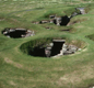 Viking buildings at Jarlshof in the Shetland Isles, north of Scotland. Jarlshof was abandoned in the AD 1200s and later buried by sand – which helped preserve the buildings.