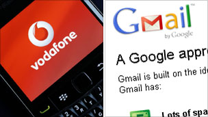 Vodafone and Gmail logos