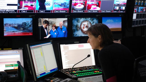 TV director in a production gallery