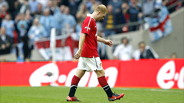 Scholes's red card for a high challenge on Pablo Zabaleta added to his collection of