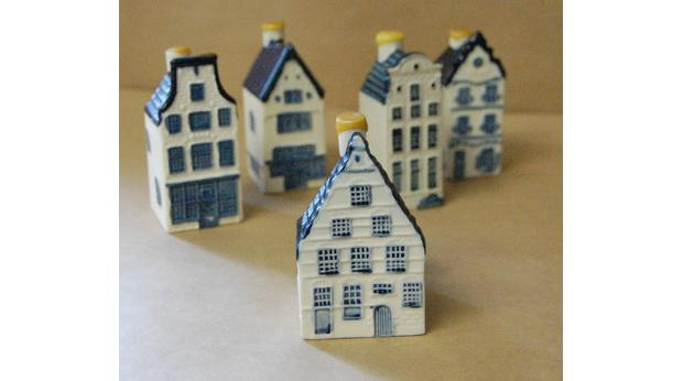Gin filled miniature Blue Delft house