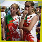 two girls in Welsh flag dresses