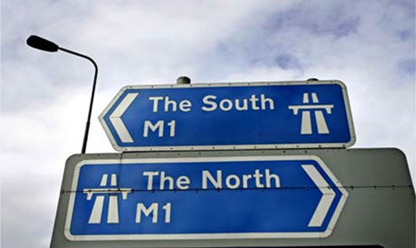 Signposts for 'the North' and 'the South'