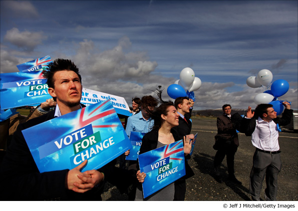 Conservative party activists wave to a helicopter carrying William Hague and Annabel Goldie in Stirling