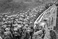 Photo of British troops crossing a bridge