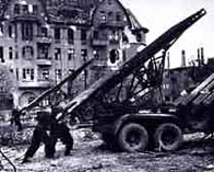 Photograph showing Russian soldiers operating a rocket launcher, Berlin