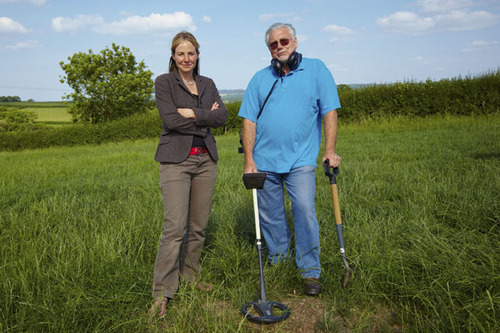 Dr Alice Roberts with Dave Crisp, the man who discovered the horde of coins in Frome