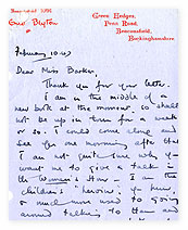 Letter from Enid Blyton to 'Woman's Hour' producer.