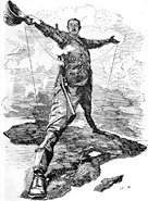 1892 cartoon of Cecil Rhodes standing astride Africa