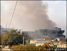Guesthouse on fire, Kabul