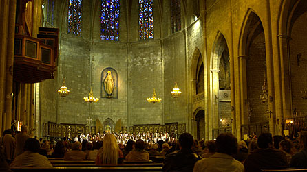 A choir singing in a cathedral