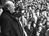 Photo of Prime Minister Winston Churchill addressing a crowd during the General Election of July 1945