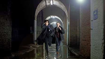 (L-R) Benedict Cumberbatch and Martin Freeman star in Sherlock