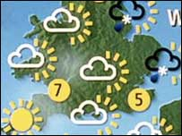 Weather map of southern England