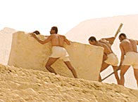 A reconstruction of pyramid-builders hauling a limestone block