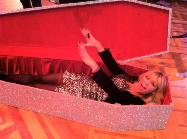 Zoe Ball in a coffin