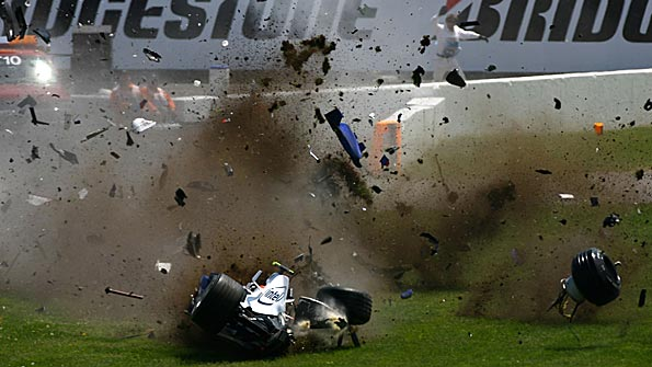 Robert Kubica crashes his BMW in the 2007 Canadian Grand Prix