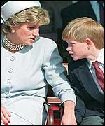 Prince Harry with his mother Princess Diana
