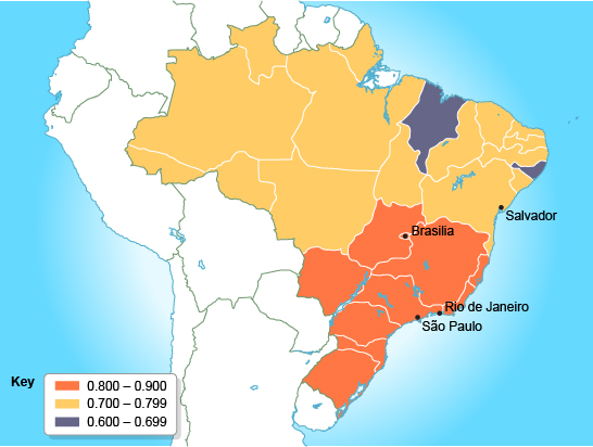 Bbc gcse bitesize case study uneven development within brazil map showing brazils regional human development index hdi gumiabroncs Images