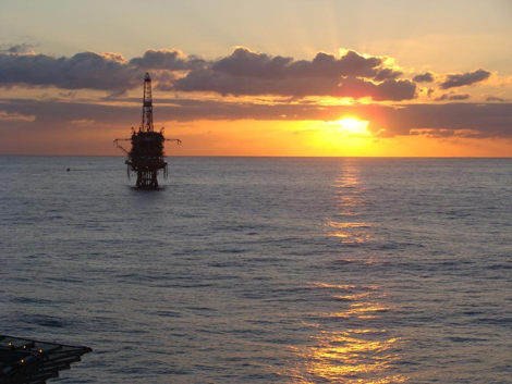 Sunrise from near an oil processing rig off the coast of Brazil