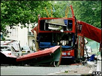 Wreck of bombed bus in London