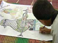 A child drawing a picture of a terrorist