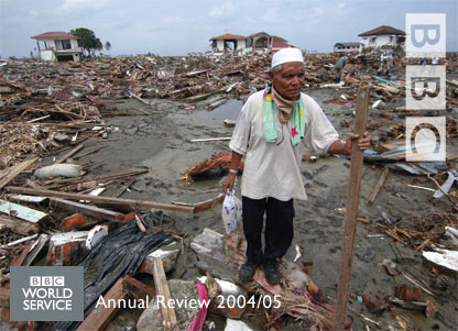 Man in area devastated by the Indian Ocean tsunami