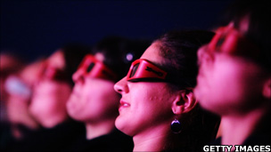 Audience watch through 3D glasses