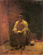Oil painting of an old American freedman (ex-slave) sitting reading the book of Psalms