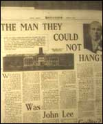 "Newspaper report, ""The man they could not hang."""