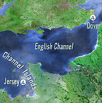 Map showing the Channel Islands to Dover