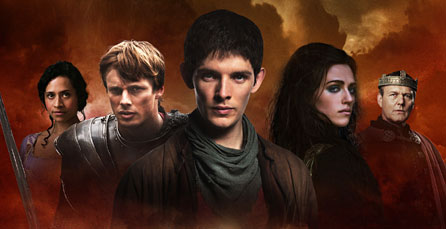 Members of the cast of Merlin: Gwen (Angel Coulby), Arthur (Bradley James), Merlin (Colin Morgan), Morgana (Katie McGrath) and Uther (Anthony Head)