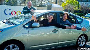 Google executives Eric Schmidt, Larry Page and Sergey Brin, in a self-driving car