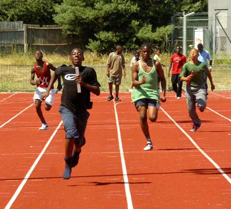 Pupils running at St Mary's school in London