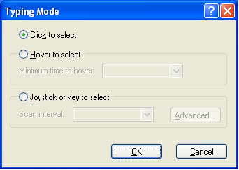 'Typing Mode' dialogue box
