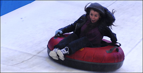 On the snow slide