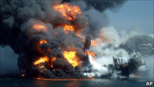 The oil rig Deepwater Horizon on fire in the Gulf of Mexico