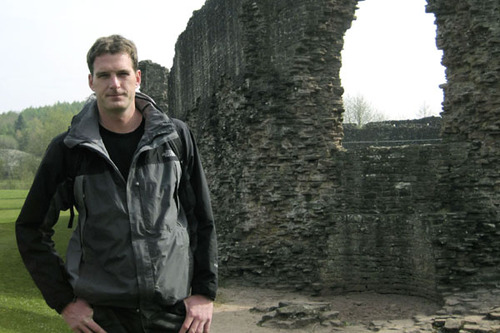 Dan Snow outside the ruins of Skenfrith castle in Gwent, Wales