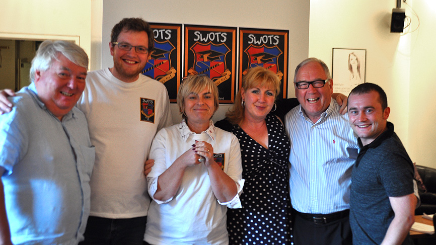 Brian Taylor, Miles Jupp, Susan Morrison, Libby McArthur, Andy Cameron and Stephen Purdon.