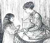 'Punch' cartoon depicting Victorian woman praying with child