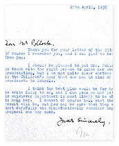 A letter from Sir John Reith to Hugh Pollock.