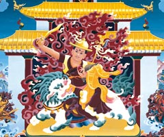 Image of Dorje Shugden, a ferocious three-eyed figure riding a white lion.