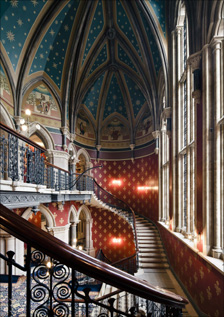 The grand staircase at St Pancras Renaissance Hotel